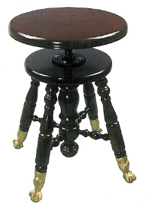 Wood Top, Claw Foot Piano Stool