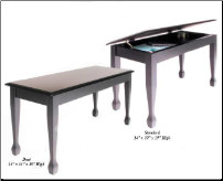 Schaff 8700 -  Standard Piano Bench--Ebony High Gloss